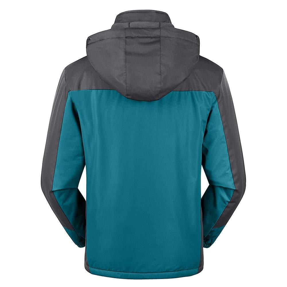 Mens Overcoat,Mens Outdoor Cashmere Thickening Hoodie Sport Outdoor Coat,Faux Fur Jacket Men