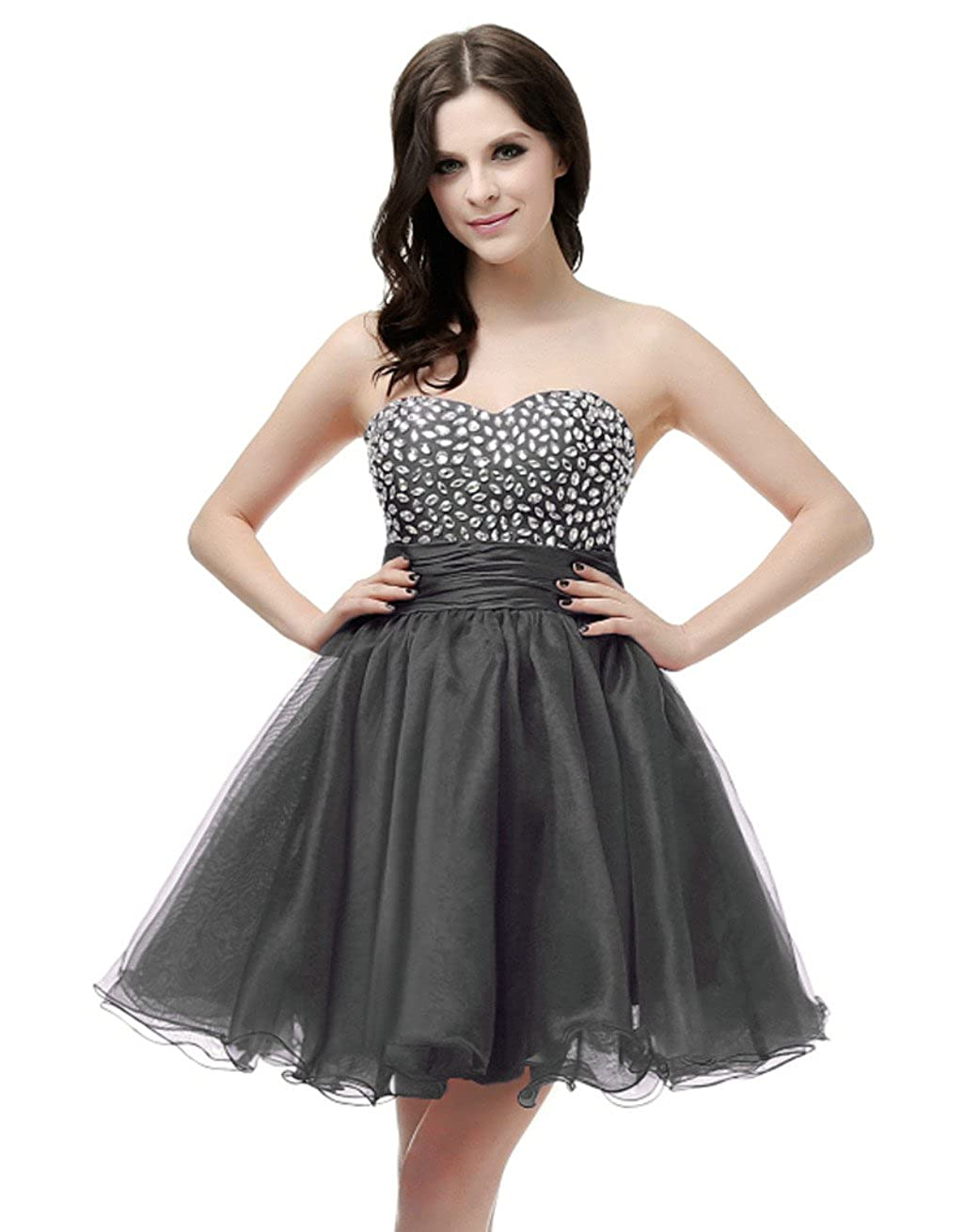 Black Vantexi Women's Strapless Short Prom Homecoming Dress Party Gown