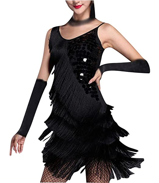 Gladiolus Señoras Vestido Latino Danza Baile Borla Largas Lentejuelas Latina Vestido Negro Un-Tamaño: Amazon.es: Ropa y accesorios
