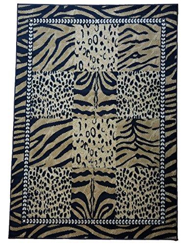 (GLORIA Safari Rugs Animal Print Area Rugs for Living Room Dorm Room Bedroom Mixed Cheetah Leopard Zebra Design Rug (5x7, 2330-SAF-BRN))