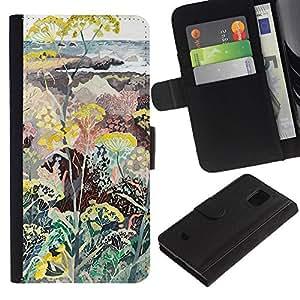 iBinBang / Flip Funda de Cuero Case Cover - Plants Flowers Painting Art - Samsung Galaxy S5 Mini, SM-G800, NOT S5 REGULAR!