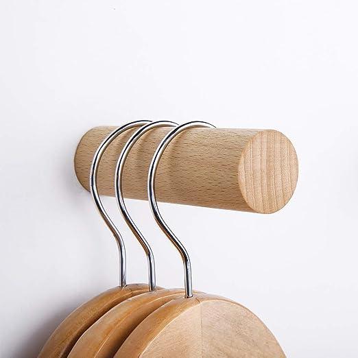 Amazon.com: Pack de 4 ganchos de madera natural, perchas ...