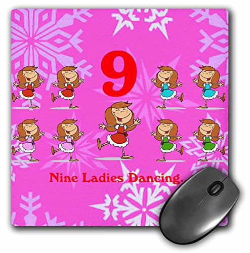 3dRose LLC 8 x 8 x 0.25 Inches Mouse Pad, 12 Days of Christmas, Nine Ladies Dancing (mp_158234_1)