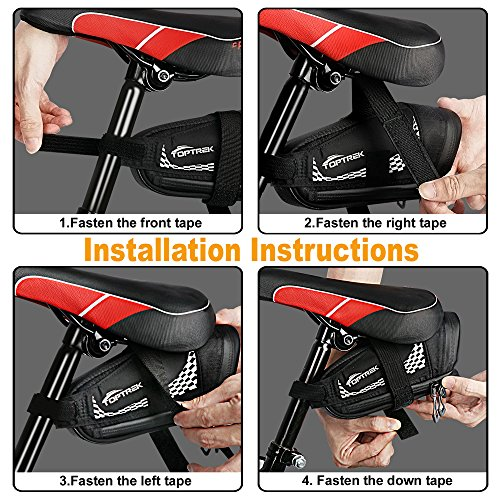 TOPTREK Bike Saddle Bag Outdoor Water Resistant Bike Bags under Seat with Expandable Capacity and Waterproof Zipper Bicycle Seat Bag for Foldable/Road/Mountain Bike by TOPTREK (Image #5)
