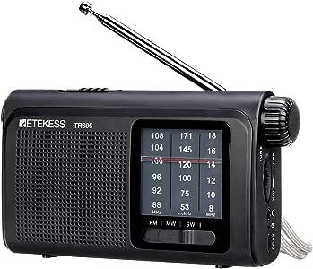 Retekess TR605 AM FM Battery Operated Radio Portable Shortwave Transistor Radio with LED Emergency Flashlight Rechargeable Battery Earphone Jack (Black)