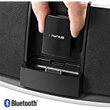 Nyrius Songo Link Wireless Bluetooth Music Receiver 30-pin Apple Speaker Dock Adapter for Audio Streaming iPod, iPhone, iPad, Samsung, Android, HTC, Blackberry, Smartphones, Tablets, Laptops (BR30)