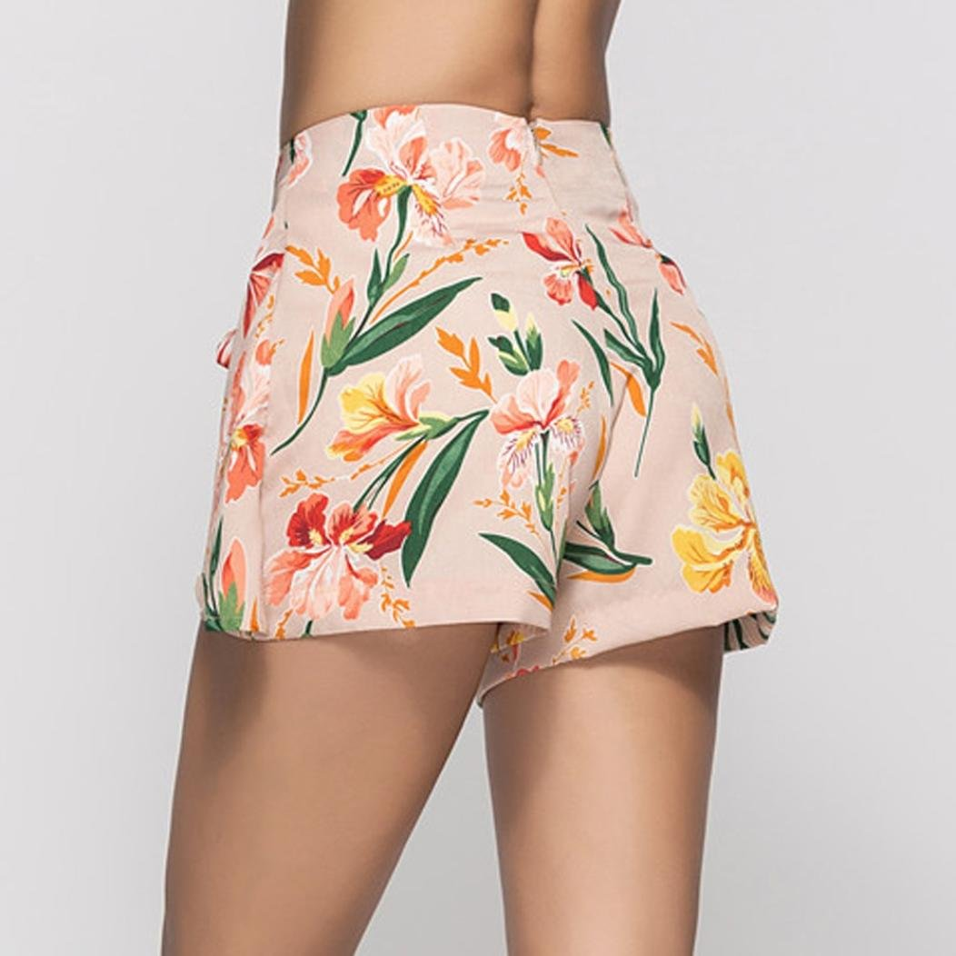 Women Shorts High Waist Loose Floral Print Summer Casual Pants with Sashes Hot Sale