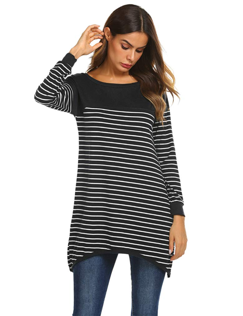 Qearal Womens Long Sleeve Striped Tunic Shirt Loose Fit Pullover Blouses Tops Black Medium