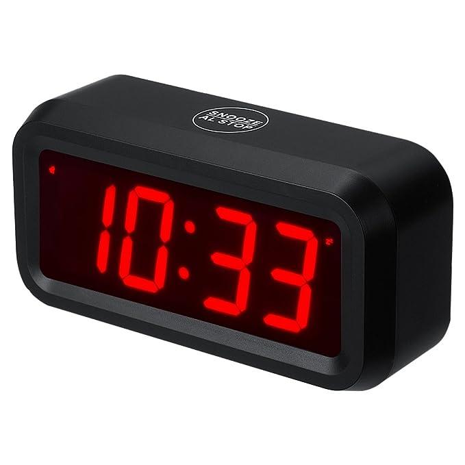 Reloj con alarma de ChaoRong, tamaño pequeño, funciona con pilas, digital, de 3 cm, para dormitorios y otros lugares...Con 4 pilas que duran más de un año.