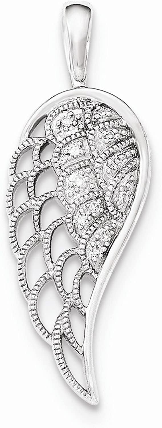 West Coast Jewelry Sterling Silver Diamond Open-Work Wing Pendant