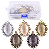 Glarks 60-Pieces 5 Colors Pendant Trays 30 Pieces Oval Bezels and 30 Pieces Bright Glass Cabochon Dome Tiles for Crafting DIY Jewelry Making