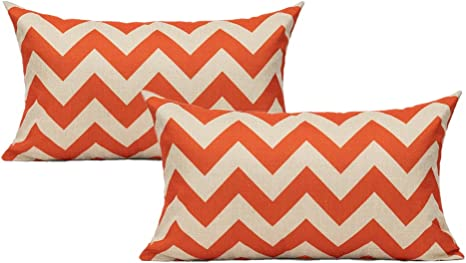 Amazon Com All Smiles Zig Zag Rectangle Lambar Throw Pillow Covers Cases 12x20 Set Of 2 Outdoor Patio Orange Decorative Oblong Cushion Home Décor Square For Couch Sofa Chair Geometric Home Kitchen
