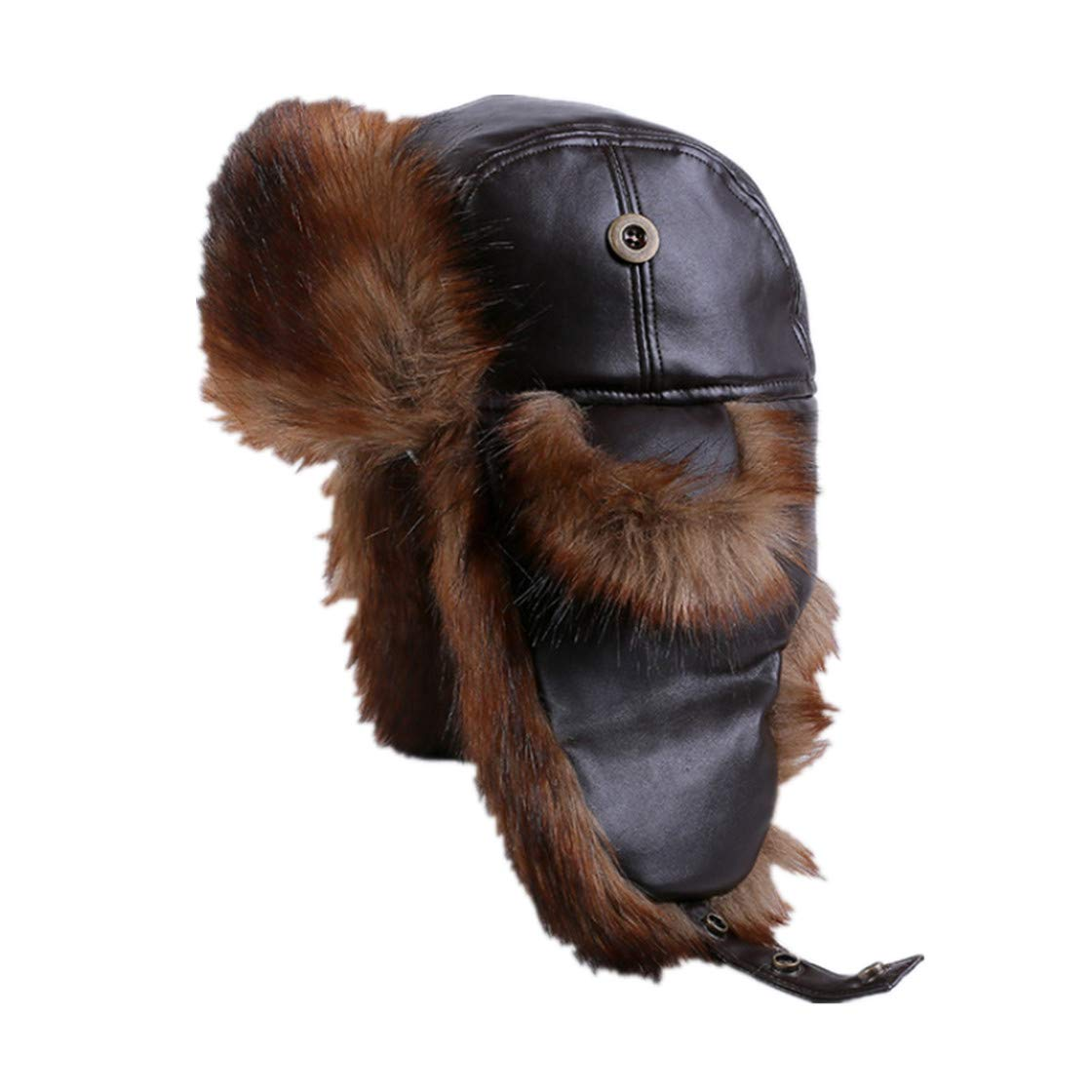 Men Russian Fur Black Brown Leather Bomber Hats Warm Winter Hats Thicken Ski Trapper Hat