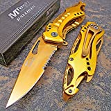 MTech Ballistic GOLD TITANIUM Spring Assisted Bottle Opener Folding Pocket Knife For Sale