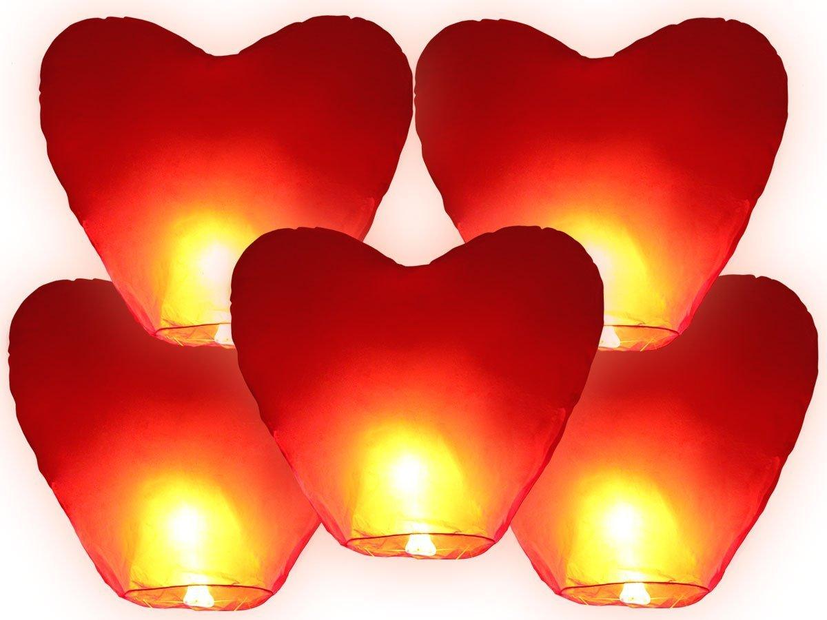 JRing 5 Pezzi Sky Lantern lanterna Cinese Cinesi Volante Mongolfiera per Matrimonio a Forma di Cuore Rosso