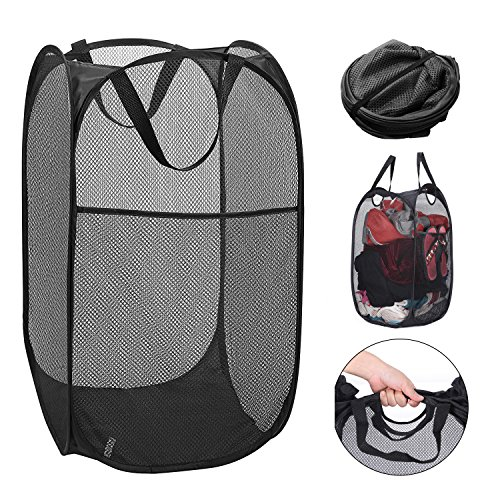 YESURPRISE Pop-Up Laundry Hamper Mesh Clothes Basket Laundry Bag with Side Pocket & Handles Home Organize and Storage Sorter, Black/Blue (Black)