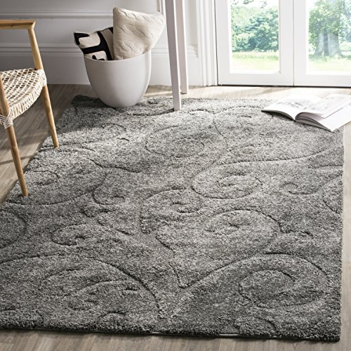 Safavieh Florida Shag Collection SG455-8013 Scrolling Vine Grey Graceful Swirl Square Area Rug (6'7