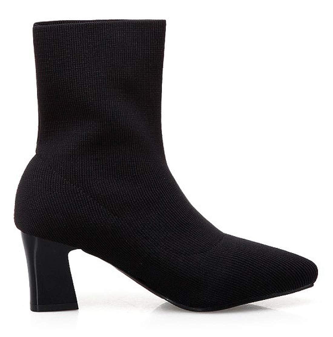 SERAPH SHOES Bottes Chaussettes En Talons Maille Noir Femme,Bottines À Talons En Carré Haut Chaussures BootsB07K5F5GQ7Parent 6a2d6e