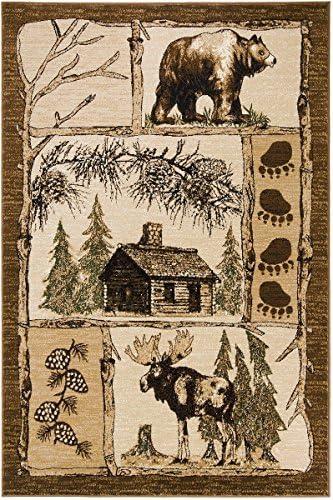 PRO RUGS Lodge ELK Moose Bear ELK Cabin Area Rug 7'.7'' X 10'.6''