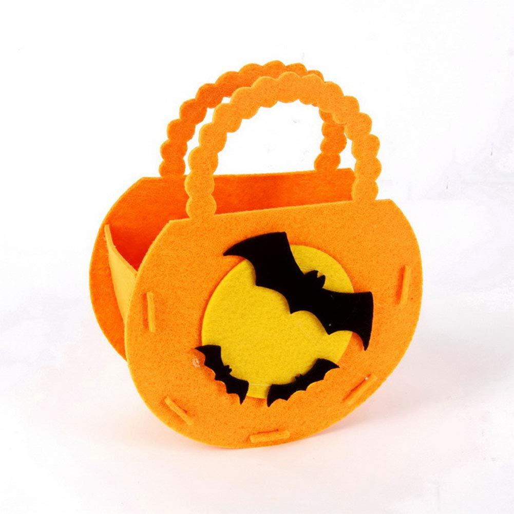 Zantec Sacchetto di Caramella Contenitore Dolci Borsa da Mano di Caramella di Halloween Dolcetto o Scherzetto Decorazione Casa per Bambini - Pipistrello