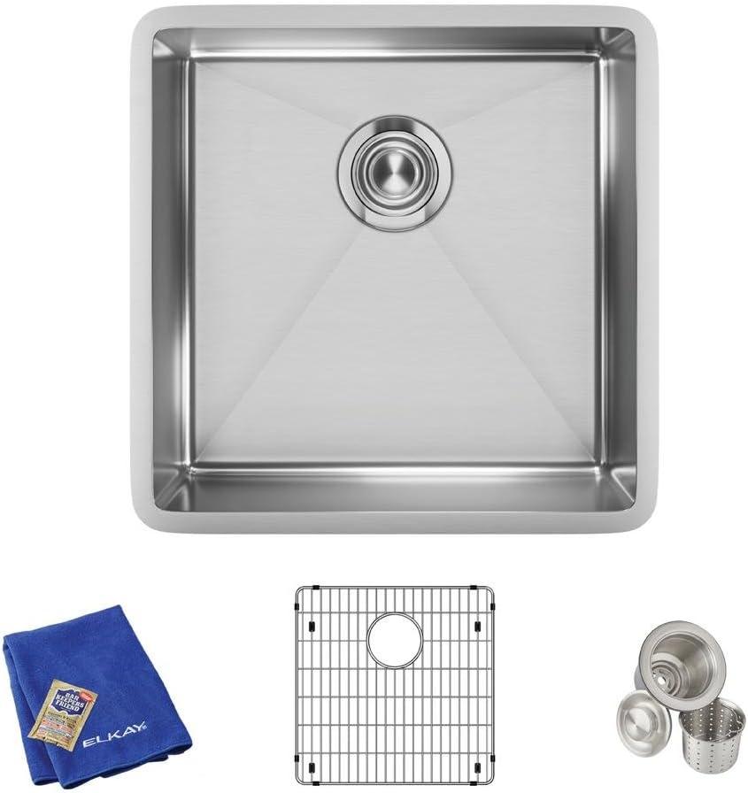 Elkay Crosstown Stainless Steel 18-1 2 x 18-1 2 x 9 , Single Bowl Undermount Sink Kit