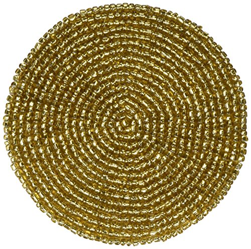 - Handmade Indian Gold Beaded Tea Coasters - 4-Inch Placemats for Teacups - Set of 6 Cup Coasters