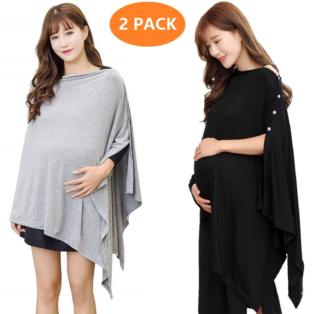 Nursing Cover Poncho for Breastfeeding Nursing Shawl Cover Ups Maternity Pregnancy Poncho and Baby Car Seat Cover Adjustable Buttons Breathable Bamboo 360° Perfect Gift Idea (2 Packs Black and Grey)