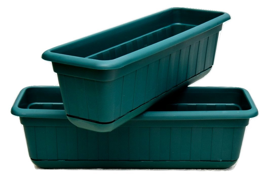 "Premium High-Density Plastic Planter & Flower Window Box Gina 18"" Set of 2 Units by Matri (Green)"
