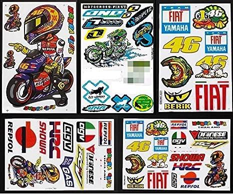 5 x moto-gp Valentino Rossi 46 Racing Casco de vinilo pegatinas: Amazon.es: Coche y moto