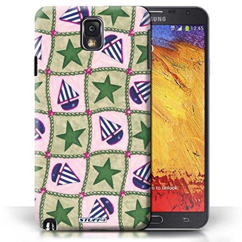 Etui / Coque pour Samsung Galaxy Note 3 / Vert/Bleu conception / Collection de Bateaux étoiles