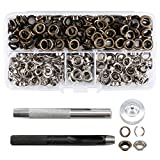 Features Durable Rust& corrosion resistant Tight& smooth finish Firm holding Easy to use Convenient to storeSpecification Material: BrassColor Gold Silver Eyelet size: 6mm Work on thickness:2-3mmPackage 110PCS Gold grommets 110PCS Sil...