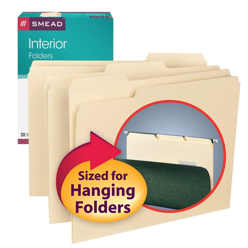 10267 Smead Folder Interior Red 1//3 Cut Tab Letter 100 Per Box
