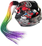Hai Hong HiMAG Helmet Hair Gradient Ramp Ponytail with Suction Cup for Motorcycle Bike Ombre Colour with Bracelet