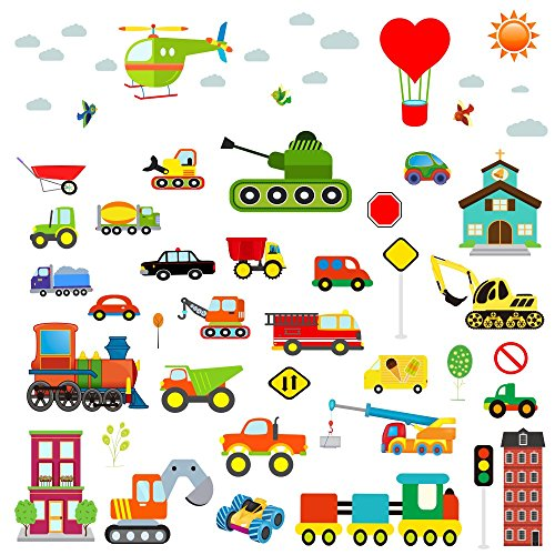 City Traffic Wall Decals Stickers: 59pcs of Decorative Vinyl