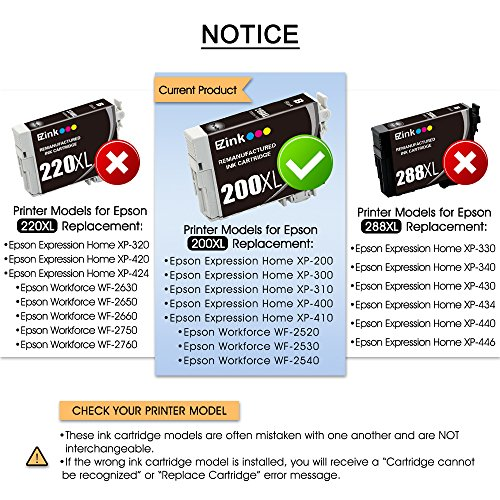 E-Z Ink Remanufactured Ink Cartridge Replacement for Epson 200XL 200 XL (4 Black, 2 Cyan, 2 Magenta, 2 Yellow 10 PACK) for XP-200 WF-2540 XP-300 WF-2530 XP-410 WF-2520 XP-400 XP-310