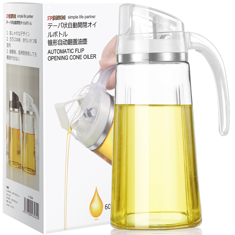 Auto Flip Olive Oil Dispenser Bottle,20 OZ Leakproof Condiment Container With Automatic Cap and Stopper,Non-Drip Spout,Non-Slip Handle for Kitchen Cooking (Brown) (White)