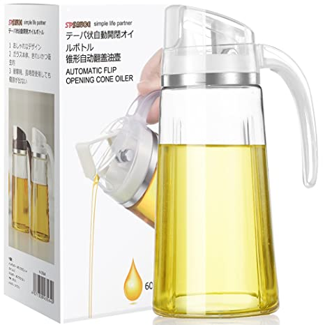 Automático tapa dispensador de aceite de oliva botella, cristal vinagrera dispensador Cruets, 17 oz