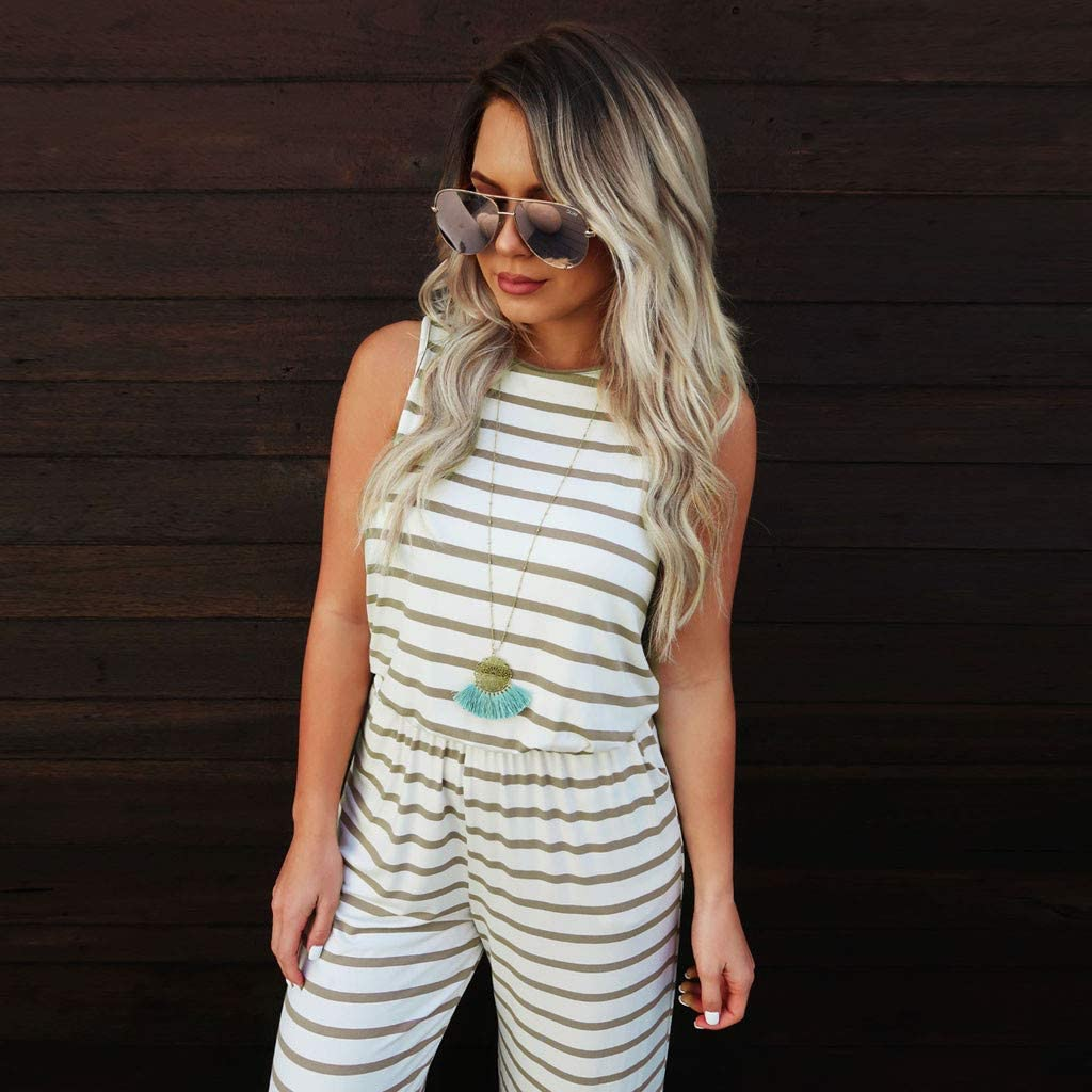 Women Stripes Jumpsuits and Rompers Sleeveless Loose Wide Leg Overalls with Pockets Casual Summer Drawstring Rompers