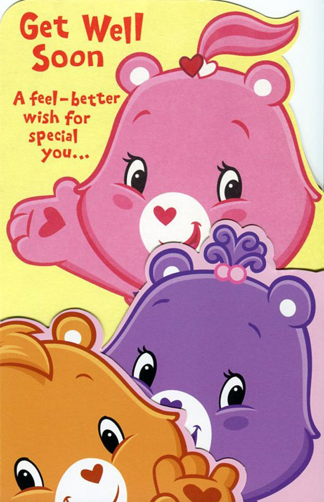 Greeting Card Birthday Get Well Care Bears Get Well Soon a Feel – Care Bears Birthday Card