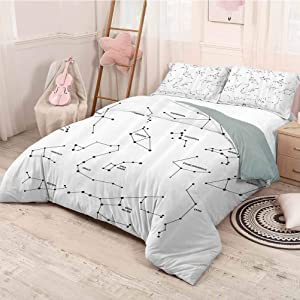 HELLOLEON Constellation Extra Large Quilt Cover Astronomic Theme Group Stars Names Classical Scientific Composition Can be Used as a Quilt Cover-Lightweight (King) Charcoal Grey White