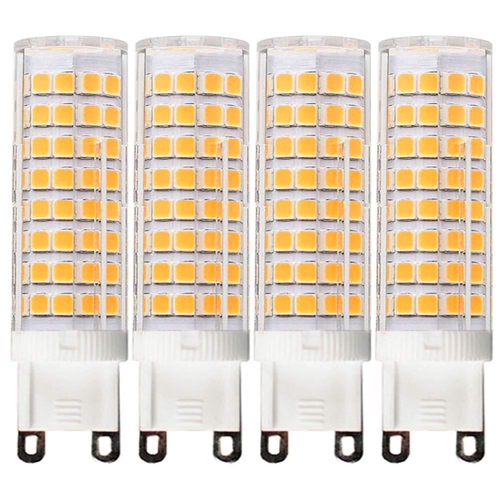 [4-Pack] G9-8W LED Bulbs, Equivalent to 100W or 75W, Dimmable, Warm White 3000K,G9 Bi Pin Base Bulb,360 Omni-Direction Beam Angle,AC 110V/120V/130V