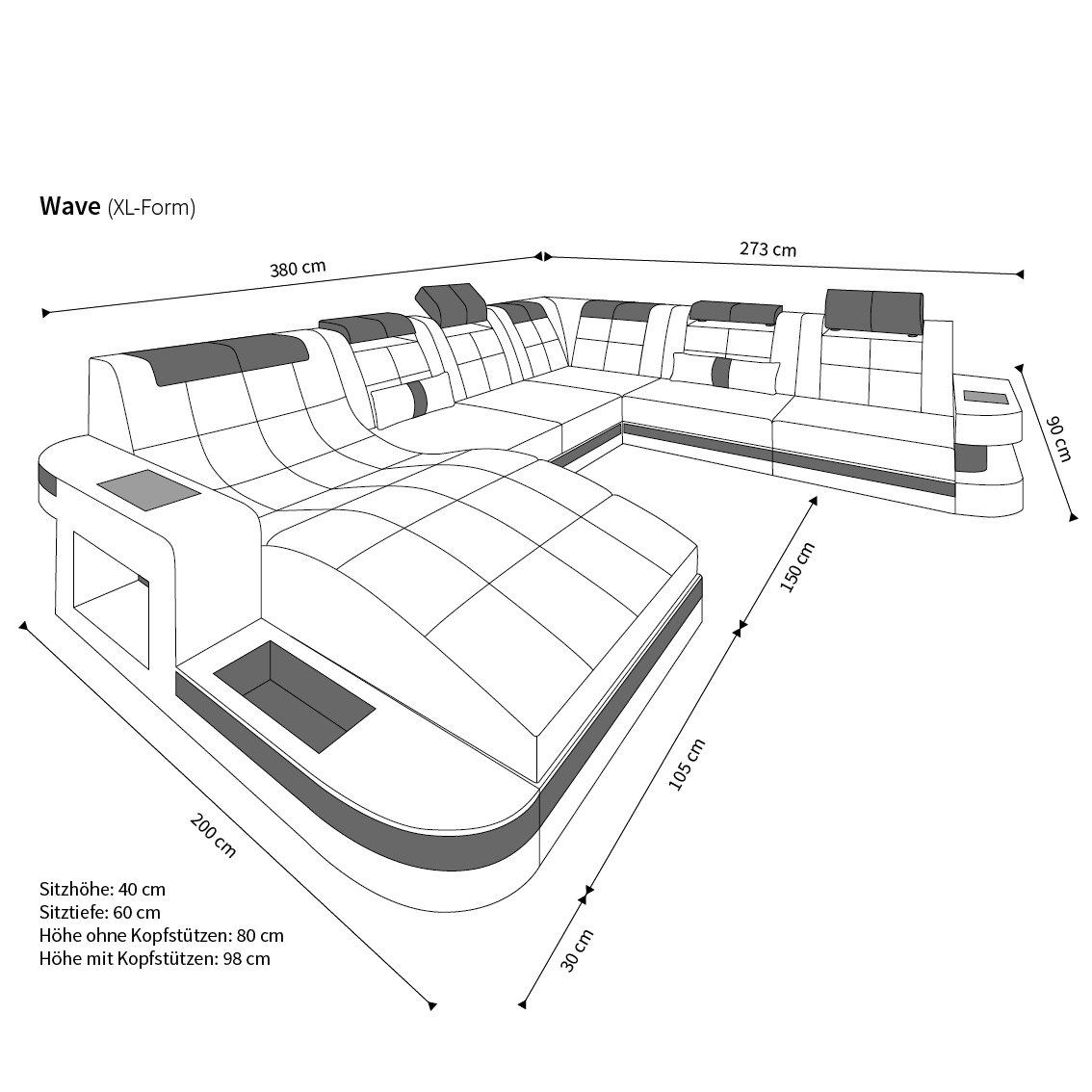 Design Wohnlandschaft Wave Xxl Mit Led Amazon De Kuche Haushalt