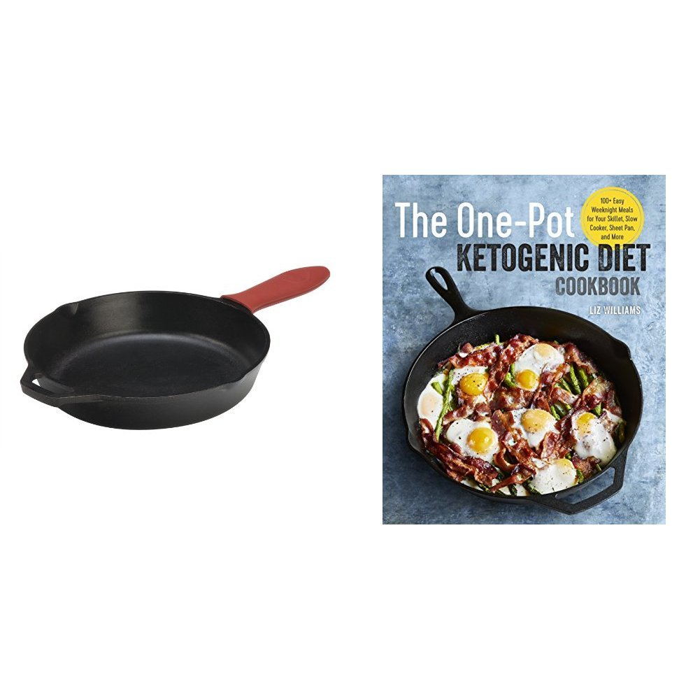 The One Pot Ketogenic Diet Cookbook & Lodge Cast Iron Skillet with Red Silicone Hot Handle Holder, 12-inch