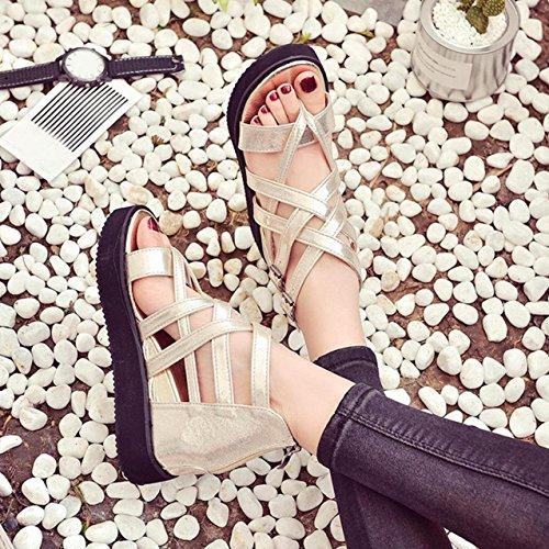 Sandalias de verano, Internet Sandalias del verano de las mujeres Oro