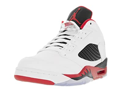 9e9d84591615e Nike Mens Air Jordan 5 Retro Low Fire Red White Fire Red-Black Leather