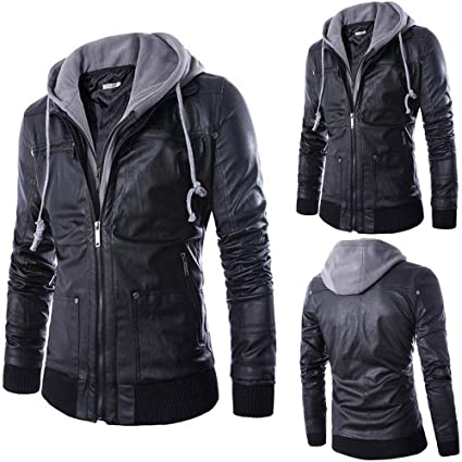 Teresamoon Men Leather Autumn&Winter Jacket Biker Motorcycle Zipper Outwear Warm Coat