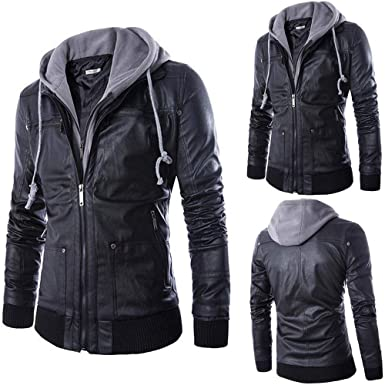 Sale! Teresamoon Men Leather Autumn&Winter Jacket Biker Motorcycle Zipper Outwear Warm Coat