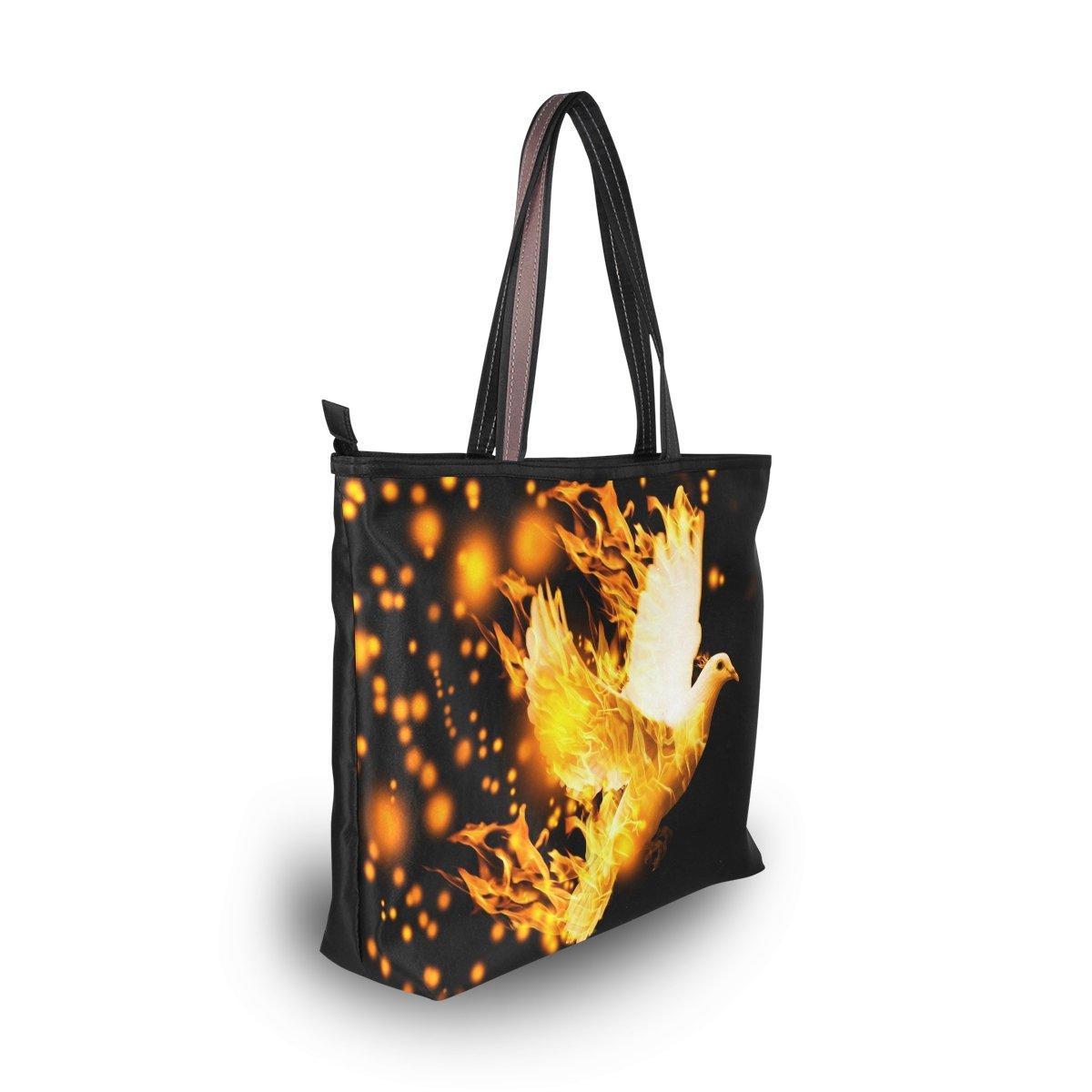 imobaby Flying Dove On Fire Women Large Tote Shoulder BagsTop Handle Handbag TE268