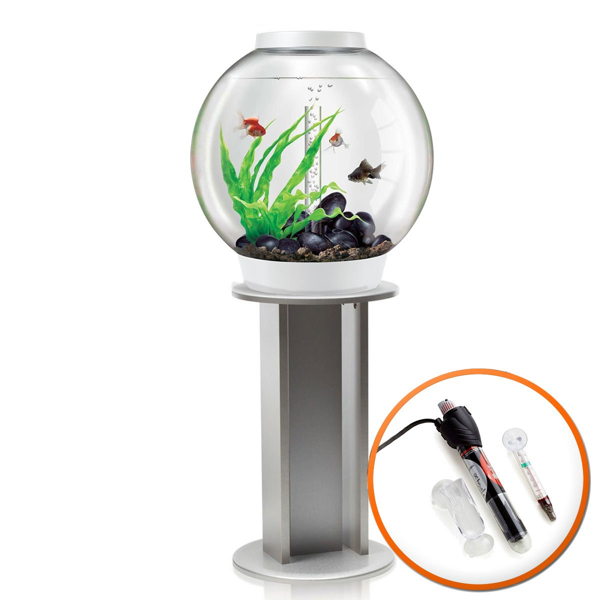 BiOrb Classic 60L Tropical Aquarium in White with Standard LED Lighting & Silver Stand