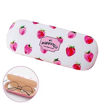 Caja gafas, caja preciosa de los vidrios de la impresión de la fresa con el trapo de limpieza rosado para las señoras del estudiante de las muchachas: ...